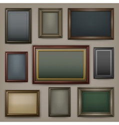 Wooden frames on dark vector