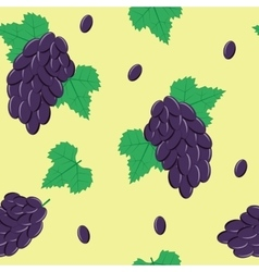 Seamless pattern with black grapes on light green vector