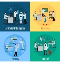 Scientists 2x2 design concept set vector