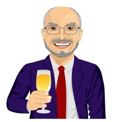 Successful smiling senior businessman toasting vector