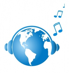 Earth witj headphones vector