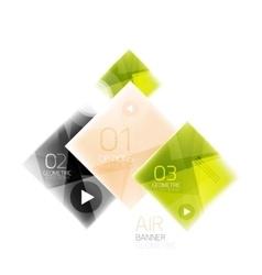 Glass square web box infographics banner vector