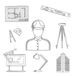 Architect and engineer profession icons vector image vector image