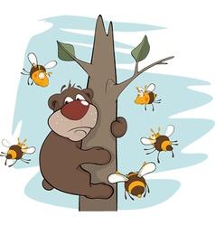 Bear cub and bees vector image vector image