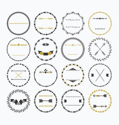 black and golden hand drawn empty circle border vector image vector image