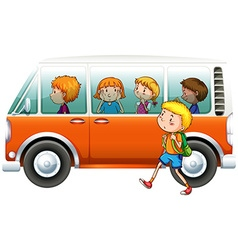Boy walking pass camper van vector image vector image