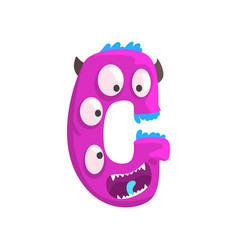 cartoon character monster letter g vector image vector image