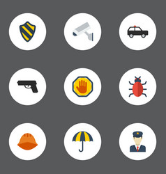 Flat icons virus hardhat shield and other vector