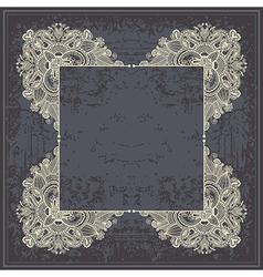 flower frame design on grunge background vector image vector image