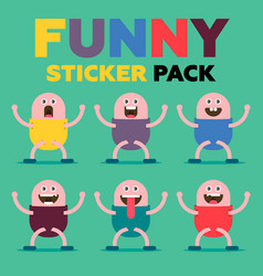 Funny sticker pack vector