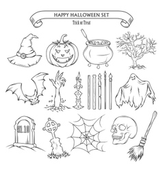 Halloween set of design elements vector image vector image