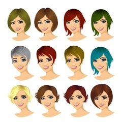 isolated set of young woman avatar vector image vector image