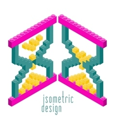 Isometric Plastic Building Blocks and Tiles vector image