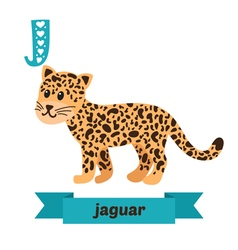 Jaguar j letter cute children animal alphabet in vector