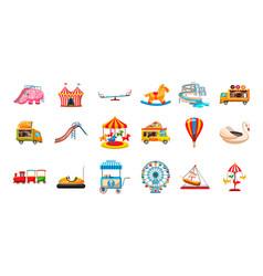 Kid amusement icon set cartoon style vector