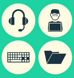 Laptop icons set collection of earphone keypad vector