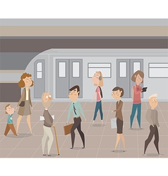 people in subway funny cartoon characters vector image