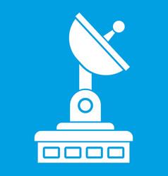 Satellite dish icon white vector
