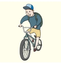 School boy riding bmx bycicle vector