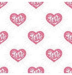 Seamless pattern with heart and lettering Love vector image vector image