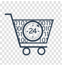 Silhouette cart online store 24 hours vector