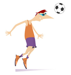 smiling young man playing football isolated vector image
