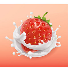 Strawberry and milk splash Fruit and yogurt vector image