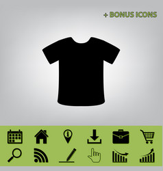 T-shirt sign black icon at gray vector