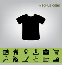 t-shirt sign black icon at gray vector image vector image