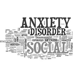 What is social anxiety disorder text word cloud vector