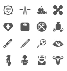 Women health care black icons vector image vector image