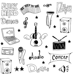 Object music doodles on white backgrounds vector