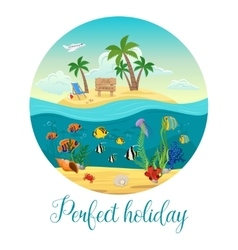 Underwater world island poster vector