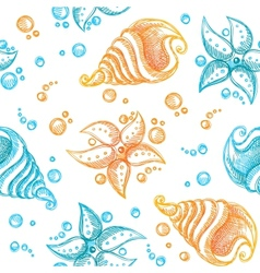 seamless pattern of starfishes and shells vector image