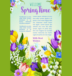 Spring flowers blooming design poster vector