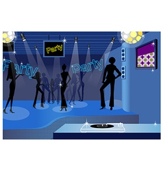 Dancing people in a disco vector