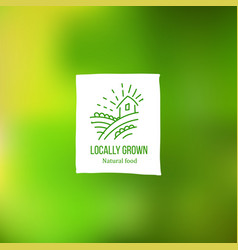 locally grown label at green backdrop vector image