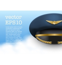 Aviator peaked cap of the pilot vector