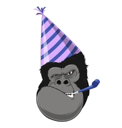 Gorilla head with hat vector