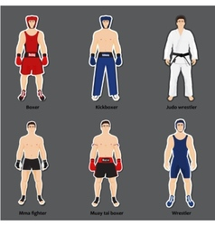 Set of different fighters in sports equipment vector