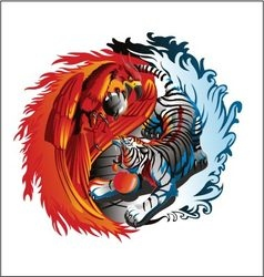 phoenix and tiger vector image