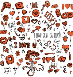 Red and black doodles for valentines day vector