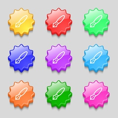 Pen icon sign symbol on nine wavy colourful vector