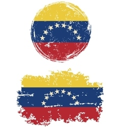 Venezuelan round and square grunge flags vector