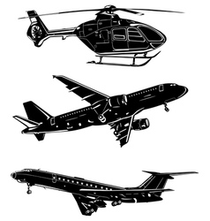 Three aircraft silhouettes vector