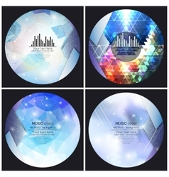 Set of 4 music album cover templates abstract vector