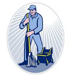 cleaner janitor vector image