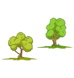 Green trees with grass isolated on white backgroun vector