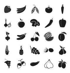 Vegetarian delicious food black simple icons set vector