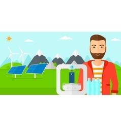 Man with three D printer vector image